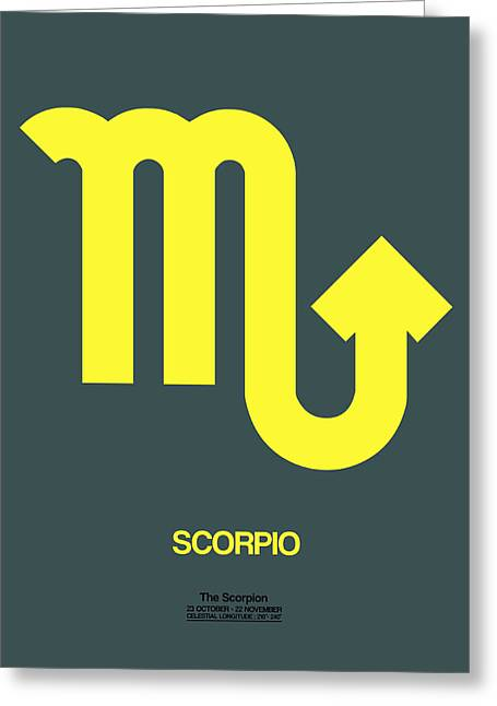 Signed Digital Art Greeting Cards - Scorpio Zodiac Sign Yellow Greeting Card by Naxart Studio