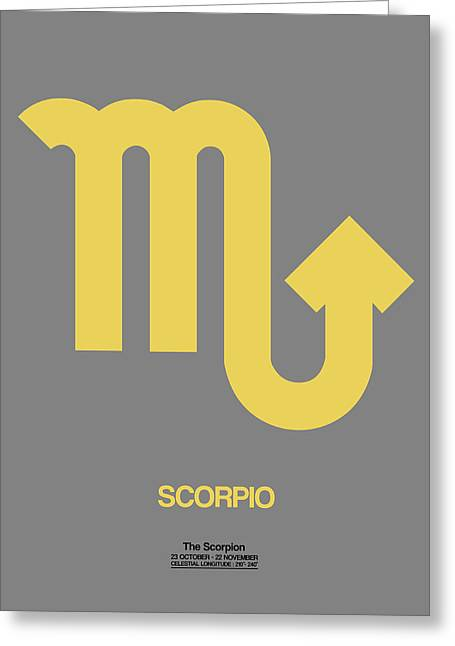 Zodiac. Greeting Cards - Scorpio Zodiac Sign Yellow on Grey Greeting Card by Naxart Studio