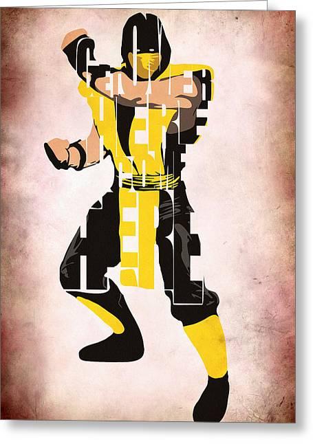 Mortal Greeting Cards - Scorpion - Mortal KOmbat Greeting Card by Ayse Deniz