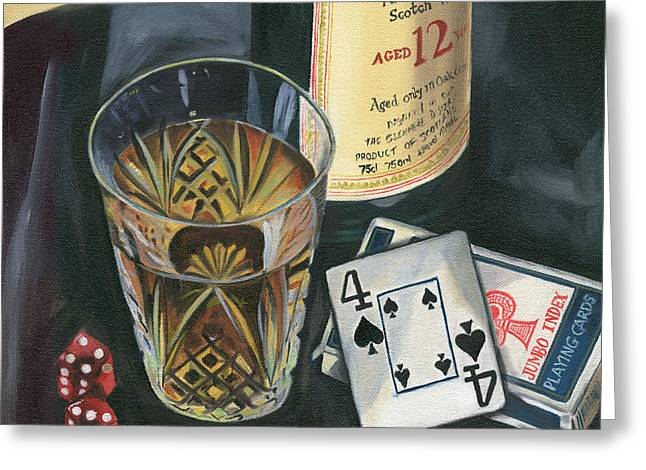 White Paintings Greeting Cards - Scotch and Cigars 2 Greeting Card by Debbie DeWitt