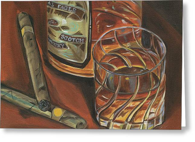 Liquor Greeting Cards - Scotch and Cigars 3 Greeting Card by Debbie DeWitt