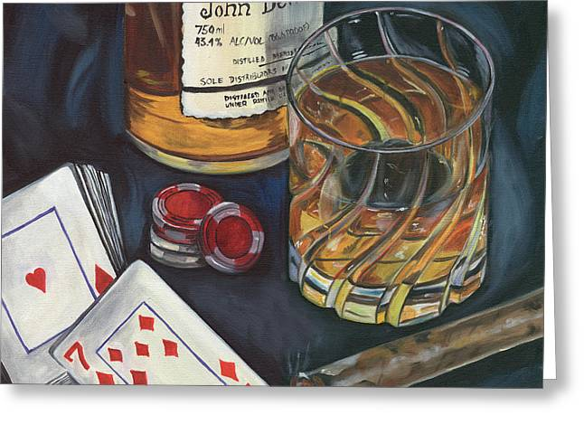 Shot Glass Greeting Cards - Scotch and Cigars 4 Greeting Card by Debbie DeWitt