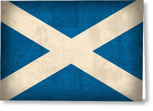 Scotland Greeting Cards - Scotland Flag Vintage Distressed Finish Greeting Card by Design Turnpike