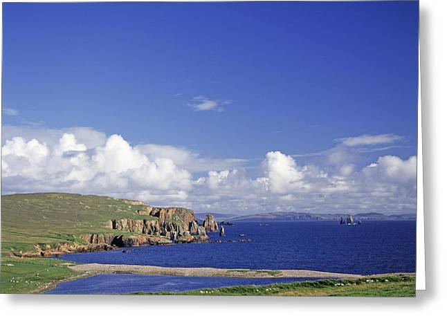 Cliffs Over Ocean Greeting Cards - Scotland Shetland Islands Eshaness Cliffs Greeting Card by Anonymous