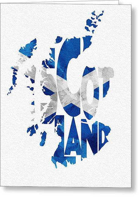 Abstract Map Greeting Cards - Scotland Typographic Map Flag Greeting Card by Ayse Deniz