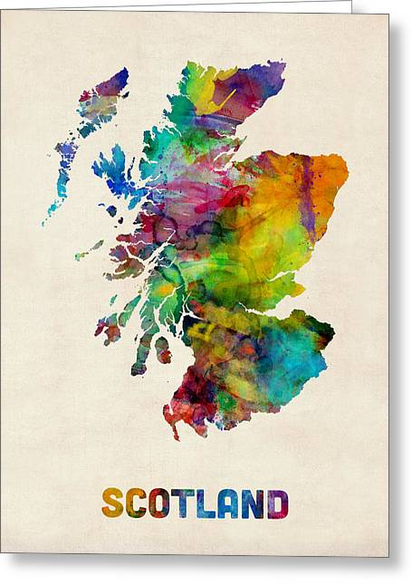Watercolor Map Greeting Cards - Scotland Watercolor Map Greeting Card by Michael Tompsett