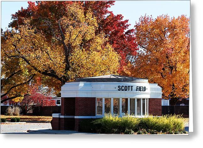 Ww1 Greeting Cards - Scott Field  Old Main Gate  Greeting Card by John Freidenberg