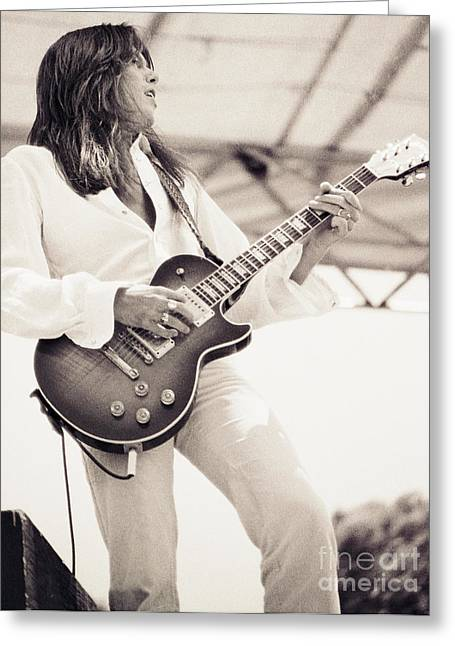Scott Gorham Of Thin Lizzy Black Rose Tour At Day On The Green 4th Of July 1979 - 1st Unrelease  Greeting Card by Daniel Larsen