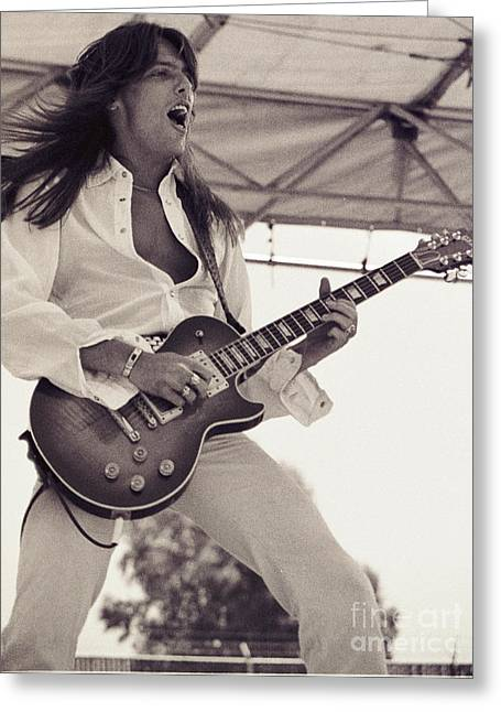Lizzy Greeting Cards - Scott Gorham of Thin Lizzy Black Rose tour at Day on the Green 4th of July 1979  Greeting Card by Daniel Larsen