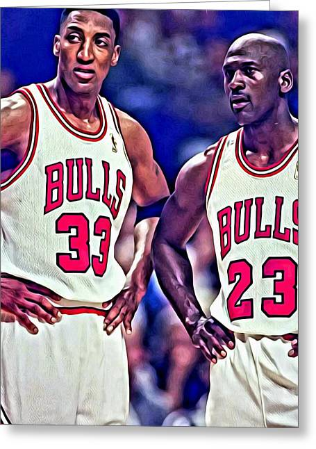 Slamdunk Greeting Cards - Scottie and Michael Greeting Card by Florian Rodarte