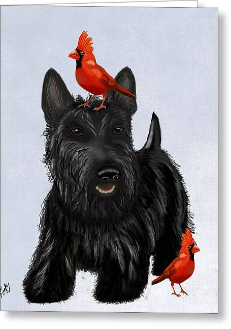 Canine Framed Prints Greeting Cards - Scottie Dog and Red Birds Greeting Card by Kelly McLaughlan