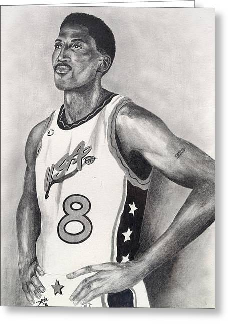 Pippen Drawings Greeting Cards - Scottie Pippen Greeting Card by Devin Millington
