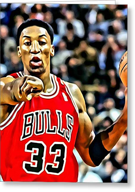 Chicago Bulls Greeting Cards - Scottie Pippen Greeting Card by Florian Rodarte