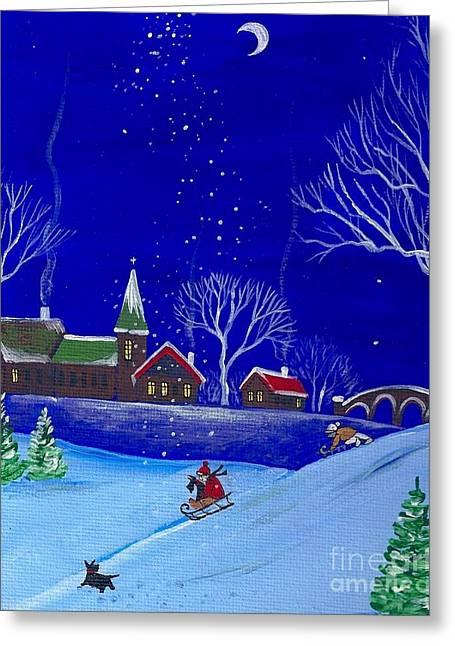 Ski Art Greeting Cards - Scottie Sleigh Ride Greeting Card by Margaryta Yermolayeva