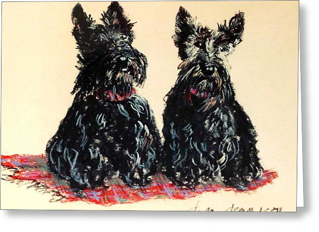Scottie; Dog Greeting Cards - Scotties Greeting Card by Dyan Newton