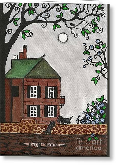 Sherlock Holmes House Greeting Cards - Scotties on an Overcast Day Greeting Card by Margaryta Yermolayeva