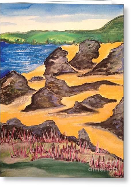 Sandy Beaches Drawings Greeting Cards - Scottish Beach Greeting Card by Karen Larter