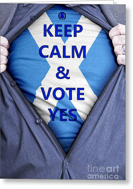 Voters Greeting Cards - Scottish Businessman votes yes Greeting Card by Antony McAulay