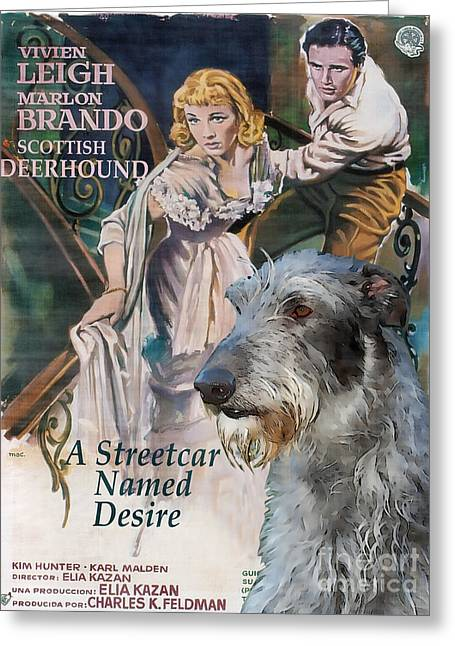 Movie Art Greeting Cards - Scottish Deerhound Art - A Streetcar Named Desire Movie Poster Greeting Card by Sandra Sij