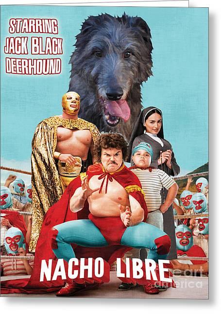 Scottish Deerhound Art - Nacho Libre Movie Poster Greeting Card by Sandra Sij