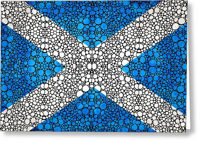 Country Framed Prints Greeting Cards - Scottish Flag - Stone Rockd Scotland Art By Sharon Cummings Greeting Card by Sharon Cummings