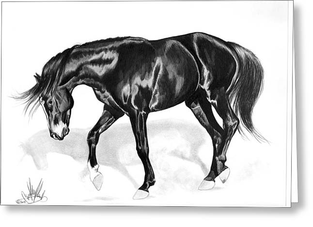 Horse Drawing Greeting Cards - Scottish Gold - Registered Thoroughbred Greeting Card by Cheryl Poland
