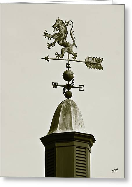 Wind Vane Greeting Cards - Scottish Lion Weathervane In Sepia Greeting Card by Ben and Raisa Gertsberg
