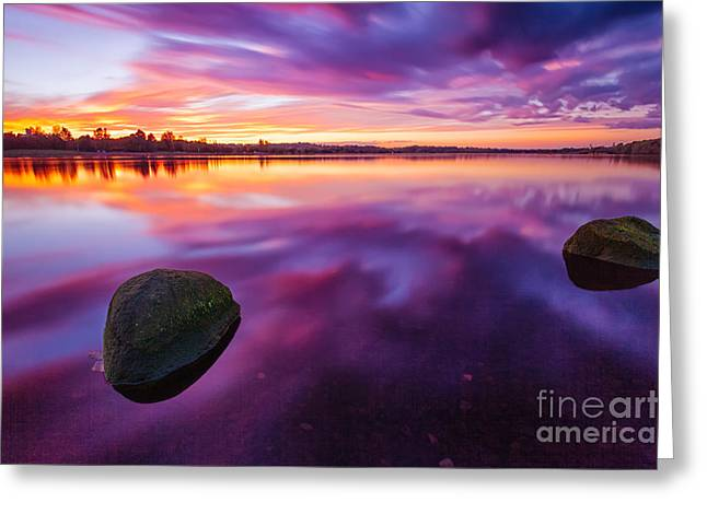Scottish Loch At Sunset Greeting Card by John Farnan