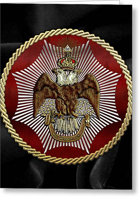 Accepting Greeting Cards - Scottish Rite Double-headed Eagle on Black Velvet Greeting Card by Serge Averbukh