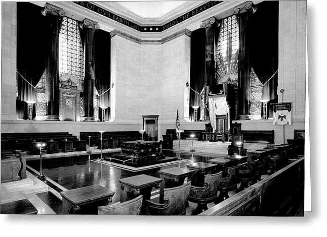 Empty Chairs Greeting Cards - Scottish Rite Masonic Temple in Washington D.C. Greeting Card by Mountain Dreams
