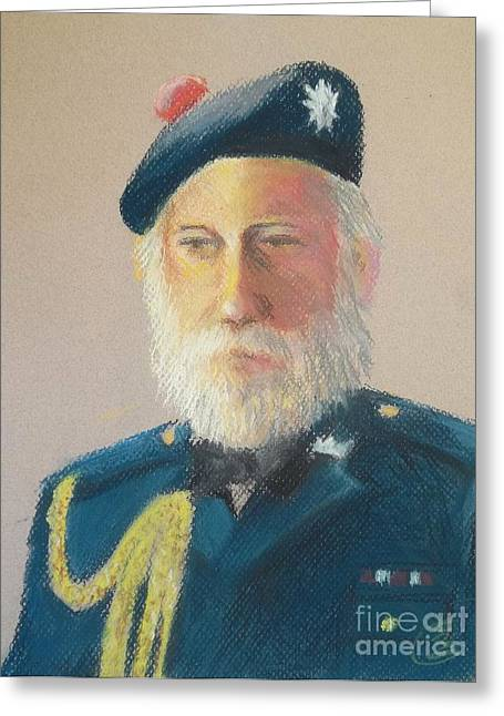 White Beard Pastels Greeting Cards - Scottish Soldier Greeting Card by Yoshiko Mishina
