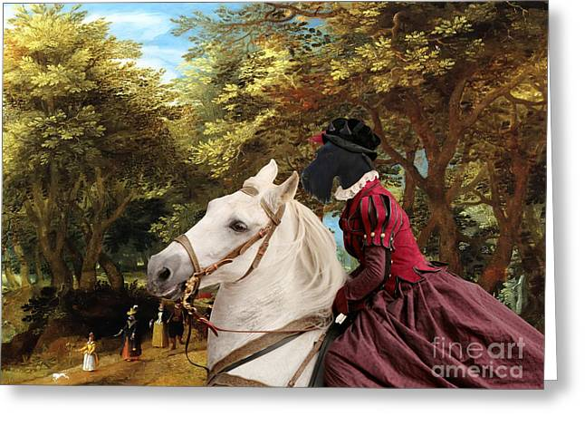 Scottish Terrier Greeting Cards - Scottish Terrier Art - Pasague with Horse Lady Greeting Card by Sandra Sij