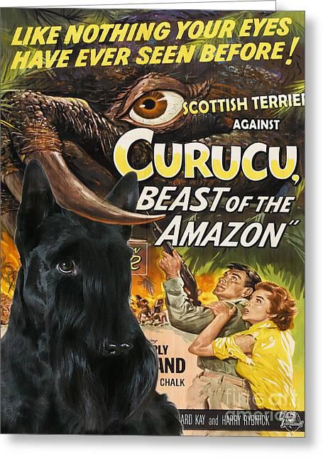 Scottish Terrier Art Canvas Print - Curucu Movie Poster Greeting Card by Sandra Sij