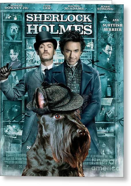 Scottish Terrier Greeting Cards - Scottish Terrier Art Canvas Print - Sherlock Holmes Movie Poster Greeting Card by Sandra Sij