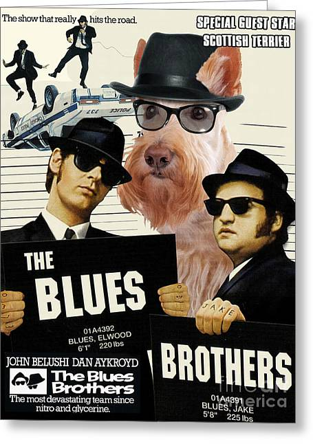 Scottish Terrier Greeting Cards - Scottish Terrier Art Canvas Print - The Blues Brothers Movie Poster Greeting Card by Sandra Sij