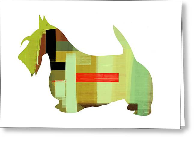 Pets Mixed Media Greeting Cards - Scottish Terrier Greeting Card by Naxart Studio
