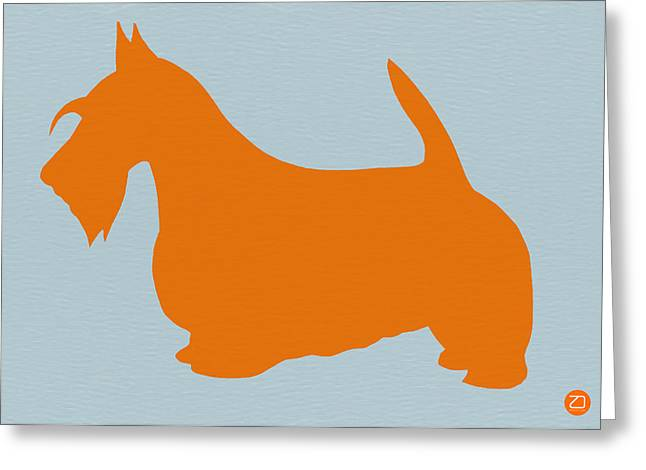Scottish Terrier Greeting Cards - Scottish Terrier Orange Greeting Card by Naxart Studio