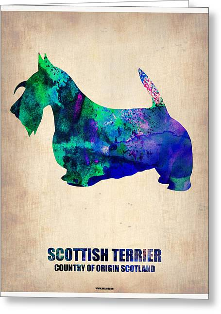 Scottish Terrier Puppy Greeting Cards - Scottish Terrier Poster Greeting Card by Naxart Studio