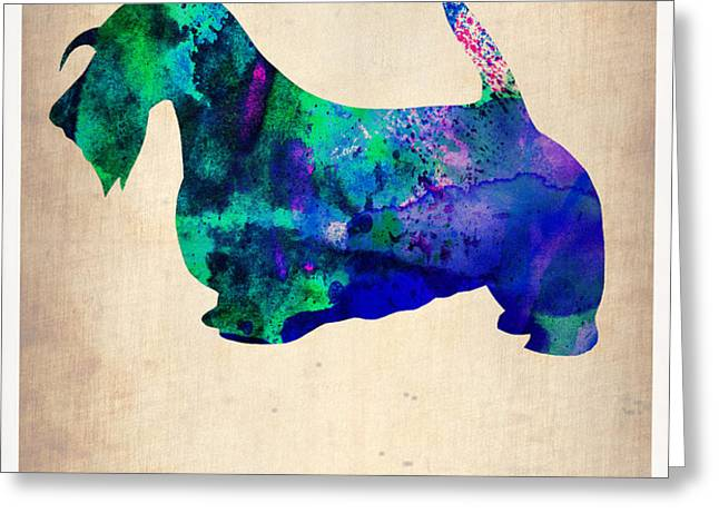 Scottish Terrier Poster Greeting Card by Naxart Studio