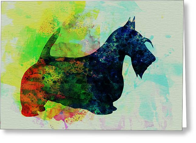 Scottish Terrier Puppy Greeting Cards - Scottish Terrier Watercolor Greeting Card by Naxart Studio