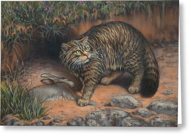 Wildcats Paintings Greeting Cards - Scottish Wildcat - Last of the Highland Tigers Greeting Card by Cynthia House