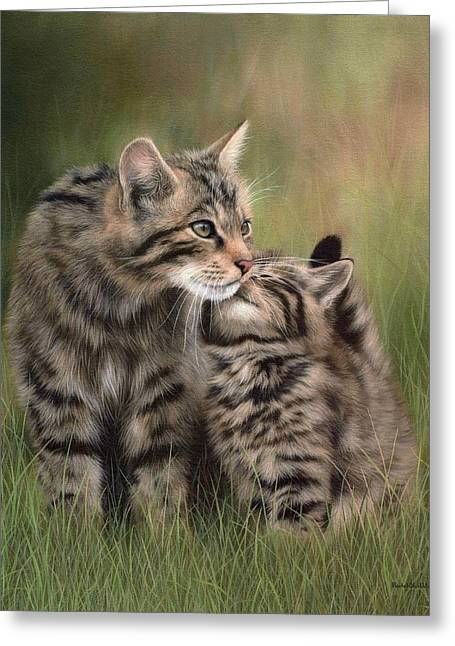 Kittens Greeting Cards - Scottish Wildcats Painting - In Support of the Scottish Wildcat Haven Project Greeting Card by Rachel Stribbling
