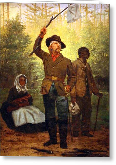 Photograph Of Painter Greeting Cards - Scotts Surrender Of A Confederate Soldier Greeting Card by Cora Wandel