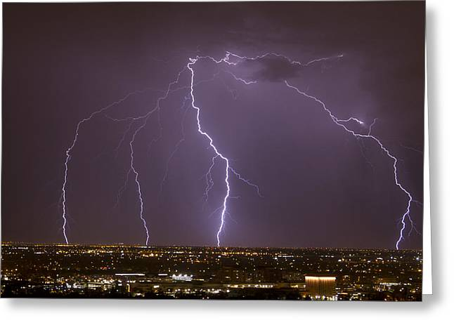 Scottsdale Lightning Greeting Cards - Scottsdale Quad Greeting Card by Cathy Franklin