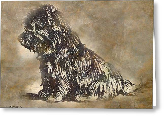 Symbolism Pastels Greeting Cards - Scotty Dog Greeting Card by George Pedro