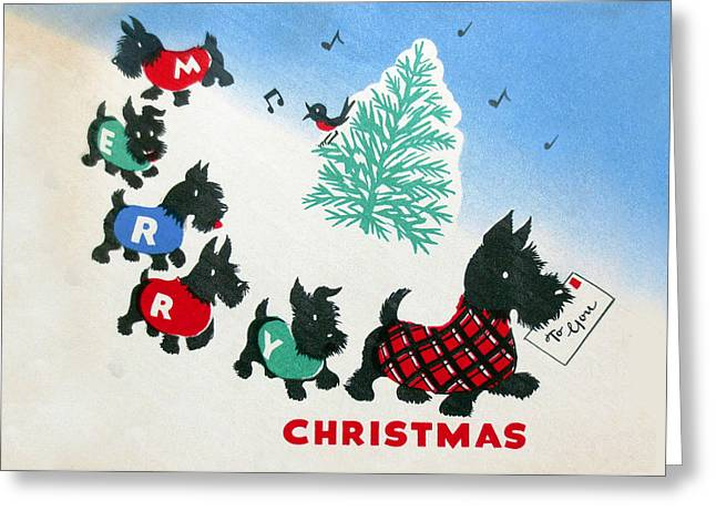 Cards Vintage Greeting Cards - Scotty Dogs Vintage 1940 Christmas Card Greeting Card by Munir Alawi