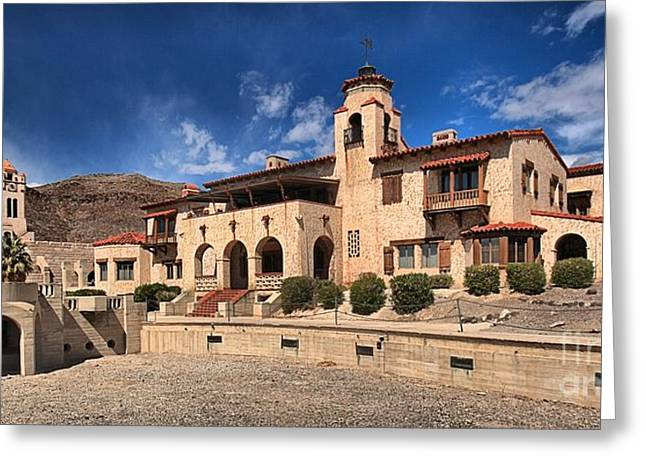 Castle In Valley Greeting Cards - Scottys Castle Greeting Card by Adam Jewell