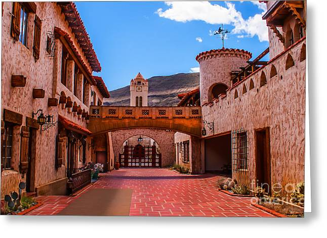 Grapevine Photographs Greeting Cards - Scottys Castle Courtyard Greeting Card by Robert Bales