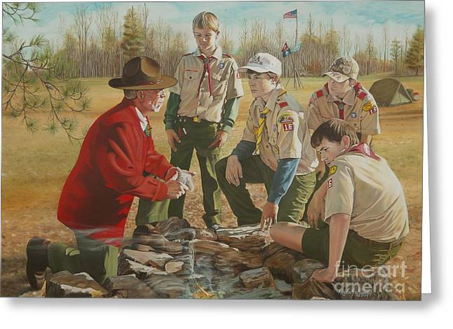 Arkansas Paintings Greeting Cards - Scout Masters Legacy Greeting Card by Angela S Williams