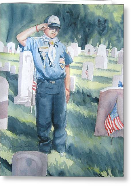 Veterans Memorial Paintings Greeting Cards - Scout Salute Greeting Card by Kathy Rennell Forbes